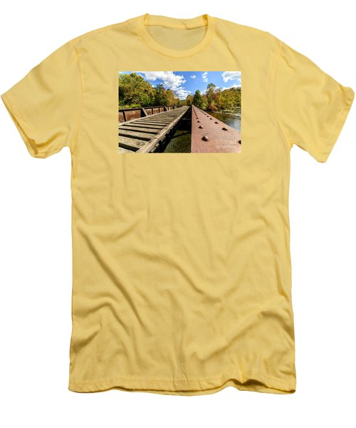 Gauley River Railroad Trestle Men's T-Shirt (Slim Fit) by Thomas R Fletcher