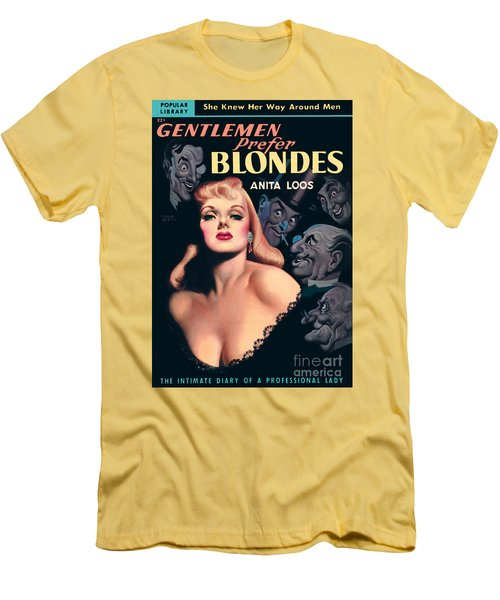 Men's T-Shirt (Slim Fit) featuring the painting Gentlemen Prefer Blondes by Earle Bergey
