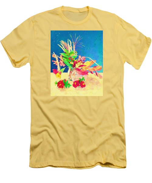 Men's T-Shirt (Slim Fit) featuring the digital art Gifts From The Yard Watercolor by Christina Lihani