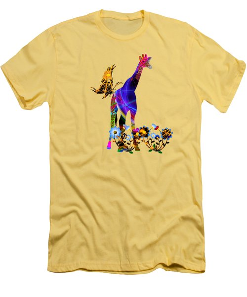 Giraffe And Flowers Men's T-Shirt (Slim Fit) by EricaMaxine  Price