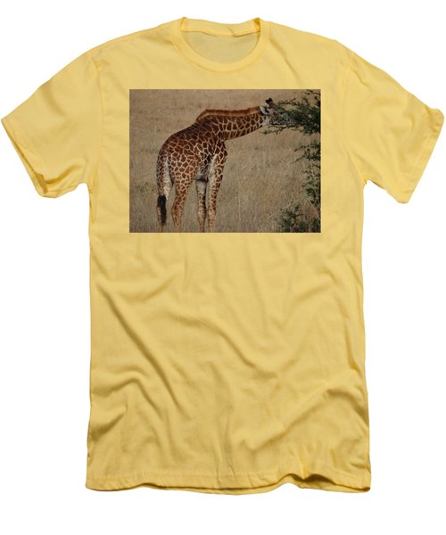 Giraffes Eating - Side View Men's T-Shirt (Athletic Fit)
