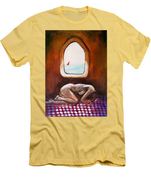 Men's T-Shirt (Athletic Fit) featuring the painting Girl At The Beach by Winsome Gunning