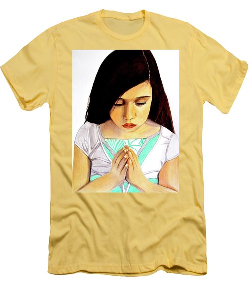 Girl Praying Drawing Portrait By Saribelle Men's T-Shirt (Athletic Fit)