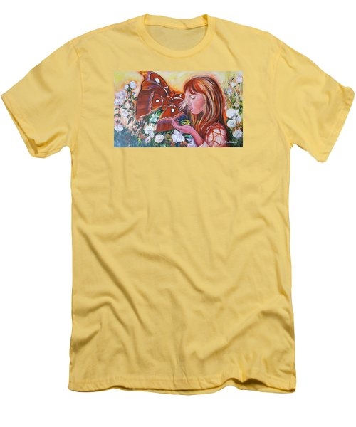 Girl With Butterflies Men's T-Shirt (Slim Fit) by Rita Fetisov
