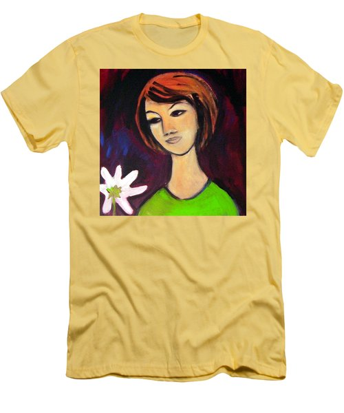 Men's T-Shirt (Athletic Fit) featuring the painting Girl With White Flower by Winsome Gunning