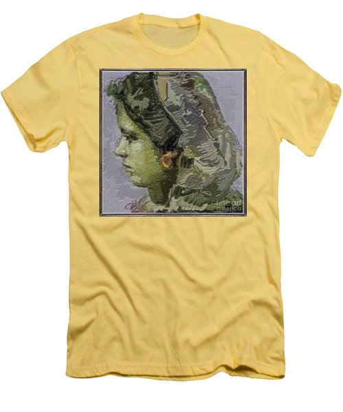 Girl With Yellow Earring Gwye2 Men's T-Shirt (Slim Fit) by Pemaro