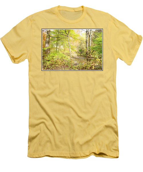 Glimpse Of A Stream In Autumn Men's T-Shirt (Slim Fit) by A Gurmankin
