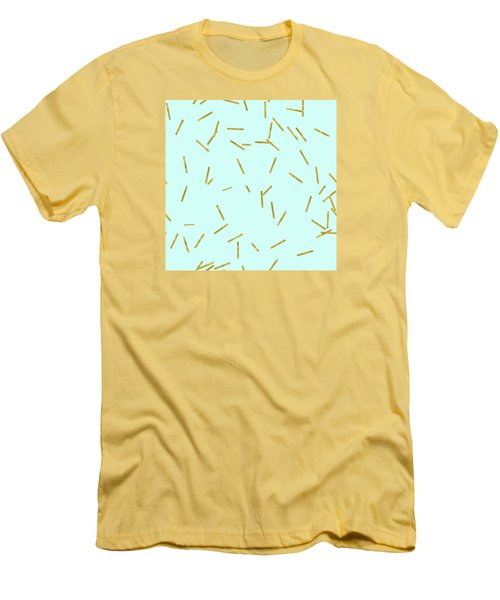 Glitter Confetti On Aqua Gold Pick Up Sticks Pattern Men's T-Shirt (Slim Fit) by Tina Lavoie