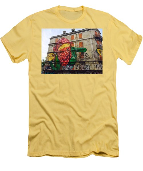 Men's T-Shirt (Slim Fit) featuring the painting Globe Building Art Painting by Sheila Mcdonald