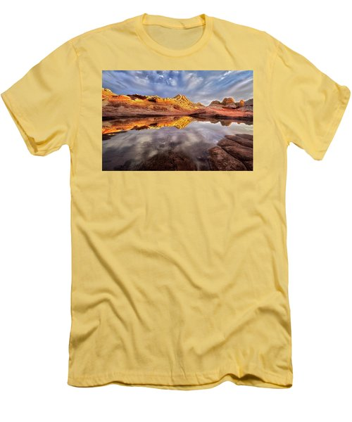 Glowing Rock Formations Men's T-Shirt (Slim Fit) by Nicki Frates