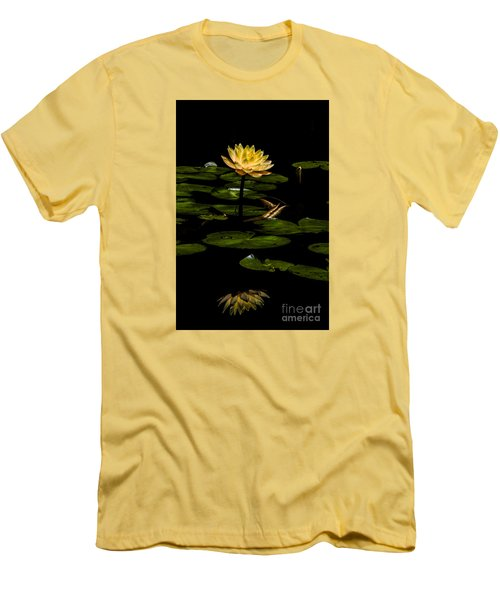 Men's T-Shirt (Slim Fit) featuring the photograph Glowing Waterlily by Barbara Bowen