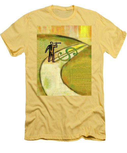 Men's T-Shirt (Slim Fit) featuring the painting Goal by Leon Zernitsky