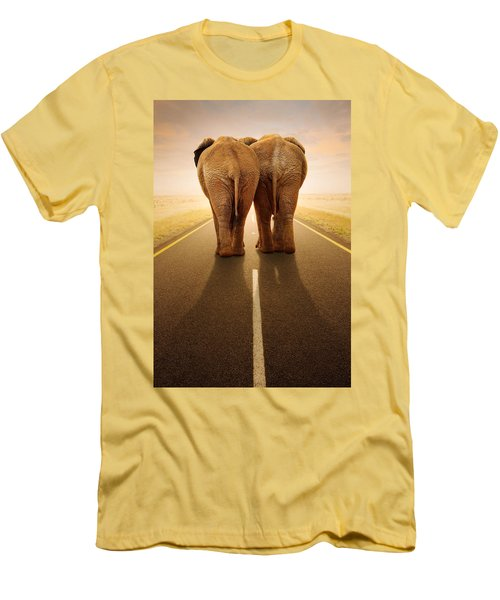 Going Away Together / Travelling By Road Men's T-Shirt (Slim Fit) by Johan Swanepoel