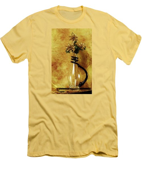 Gold Flowers In Vase Men's T-Shirt (Athletic Fit)