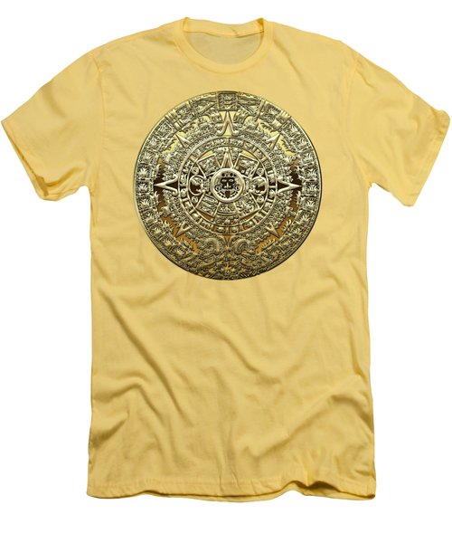 Gold Mayan-aztec Calendar On Brown Leather Men's T-Shirt (Athletic Fit)