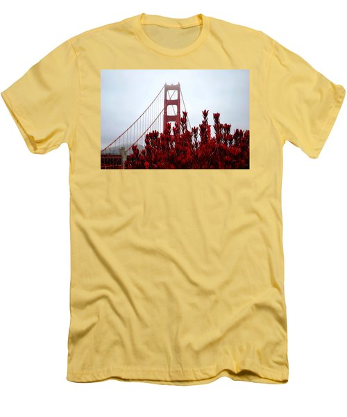 Golden Gate Bridge Red Flowers Men's T-Shirt (Slim Fit) by Matt Harang