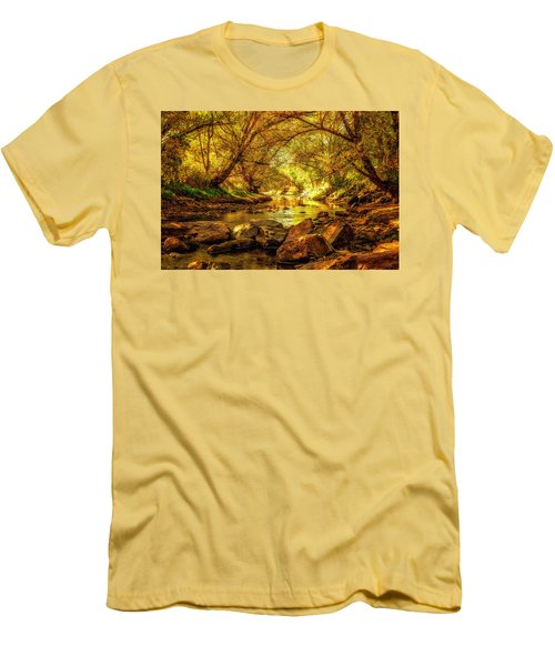 Men's T-Shirt (Slim Fit) featuring the photograph Golden Stream by Kristal Kraft