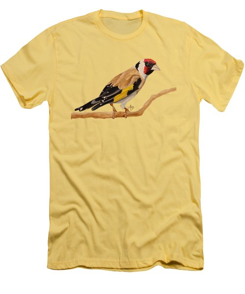 Goldfinch Men's T-Shirt (Slim Fit) by Angeles M Pomata