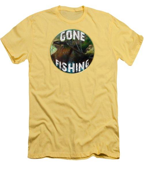 Gone Fishing Men's T-Shirt (Slim Fit) by Mim White