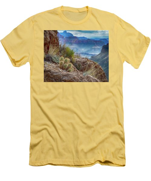 Grand Canyon Cactus Men's T-Shirt (Slim Fit) by Phil Abrams