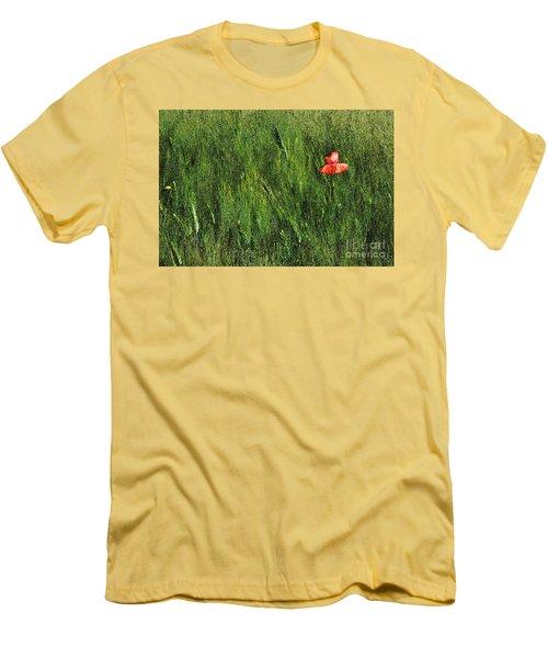 Grassland And Red Poppy Flower 2 Men's T-Shirt (Slim Fit) by Jean Bernard Roussilhe
