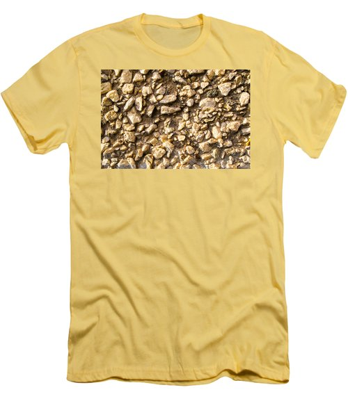 Men's T-Shirt (Slim Fit) featuring the photograph Gravel Stones On A Wall by John Williams