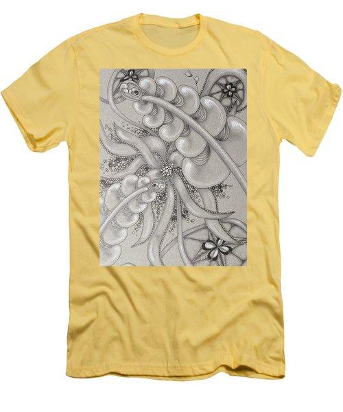 Gray Garden Explosion Men's T-Shirt (Slim Fit) by Jan Steinle