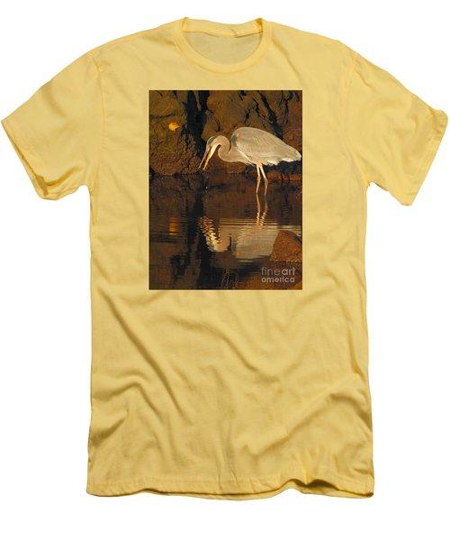 Great Blue Heron Men's T-Shirt (Slim Fit) by Debbie Stahre