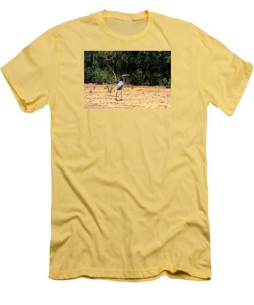 Men's T-Shirt (Slim Fit) featuring the photograph Great Blue Heron On Beach by Sheila Brown