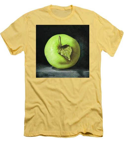 Men's T-Shirt (Slim Fit) featuring the painting Green Apple With Leaf by Marna Edwards Flavell