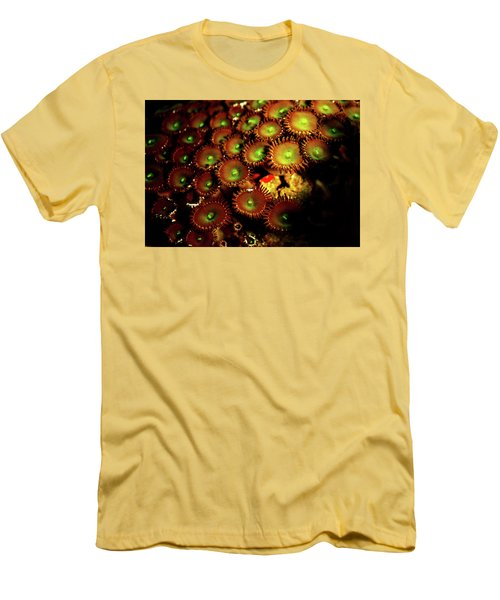 Men's T-Shirt (Slim Fit) featuring the photograph Green Button Polyps by Anthony Jones