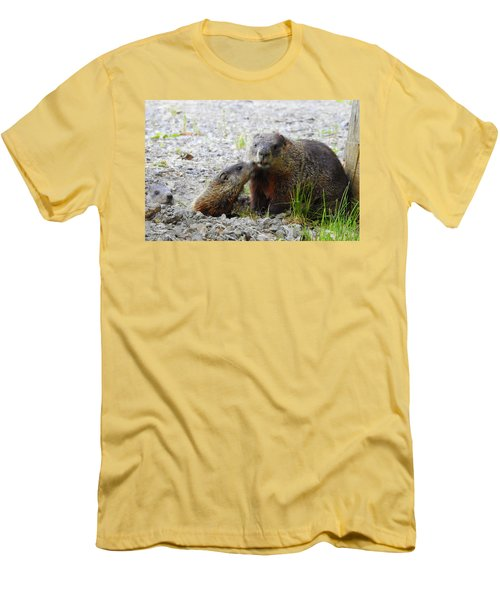 Men's T-Shirt (Slim Fit) featuring the photograph Groundhog Kiss by Betty-Anne McDonald