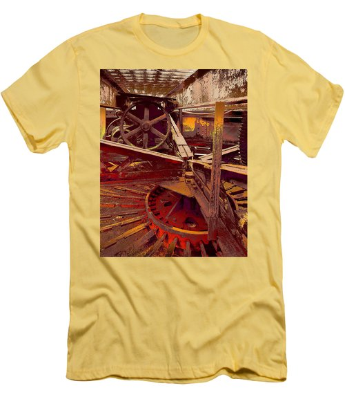 Men's T-Shirt (Slim Fit) featuring the photograph Grunge Gears by Robert Kernodle