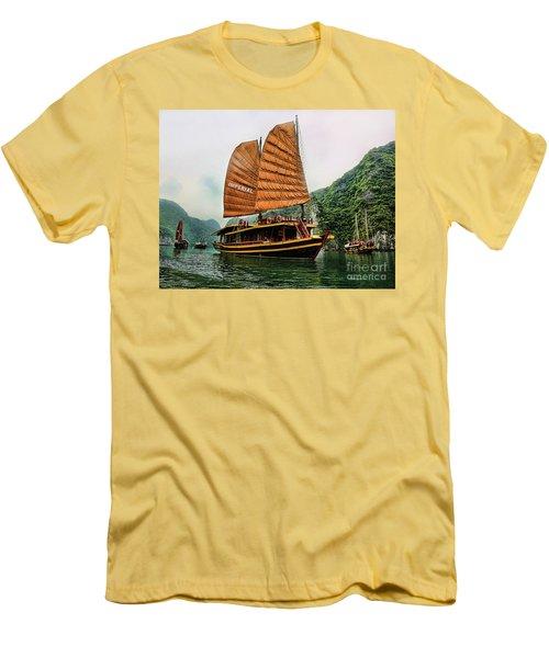 Ha Long Vessel Brown  Men's T-Shirt (Slim Fit) by Chuck Kuhn