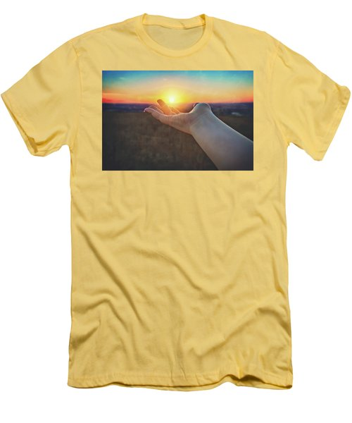 Men's T-Shirt (Slim Fit) featuring the photograph Hand Holding Sun - Sunset At Lapham Peak - Wisconsin by Jennifer Rondinelli Reilly - Fine Art Photography