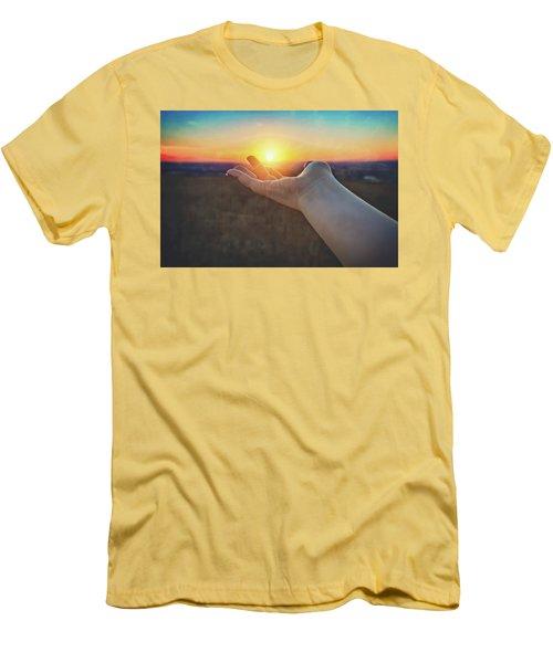 Hand Holding Sun - Sunset At Lapham Peak - Wisconsin Men's T-Shirt (Slim Fit) by Jennifer Rondinelli Reilly - Fine Art Photography
