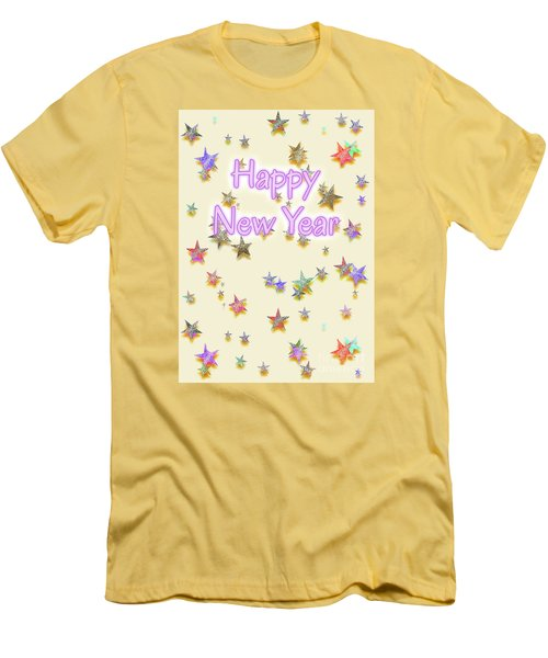 Happy New Year Stars Men's T-Shirt (Athletic Fit)