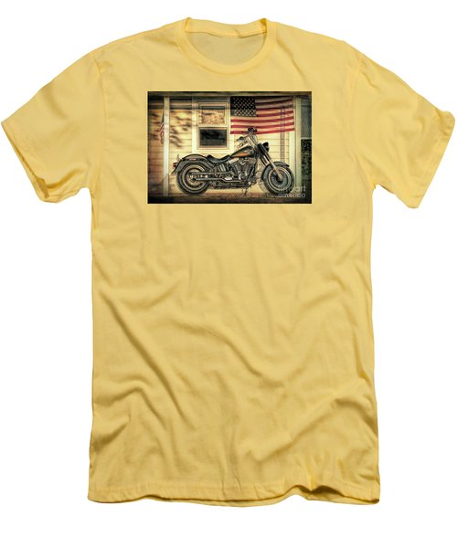Harley Davidson Fat Boy Men's T-Shirt (Slim Fit) by George Robinson