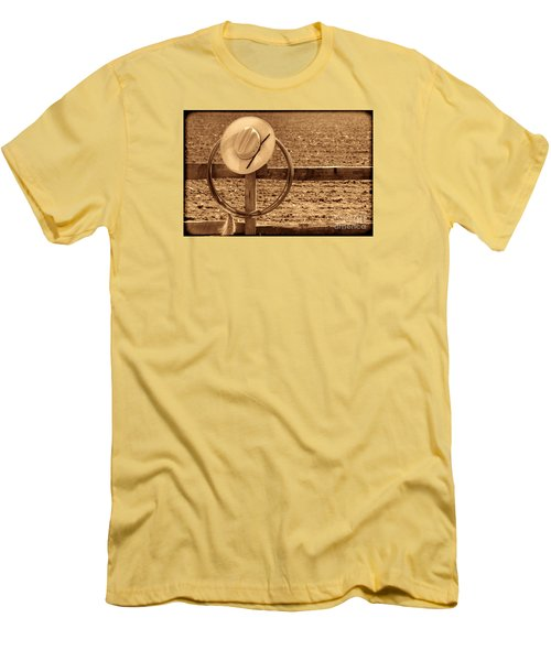 Hat And Lasso On A Fence Men's T-Shirt (Slim Fit) by American West Legend By Olivier Le Queinec