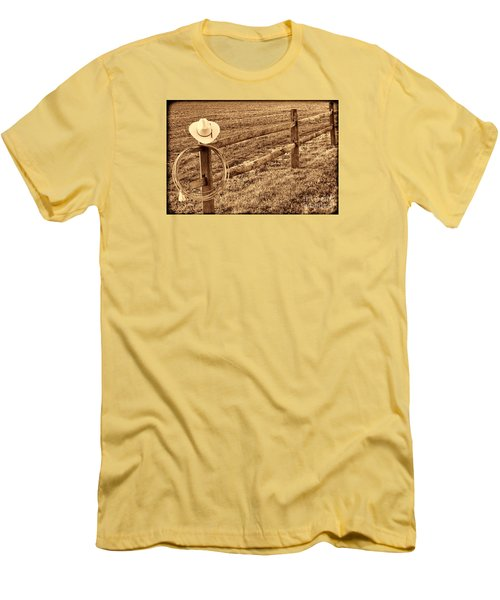 Hat And Lasso On Fence Men's T-Shirt (Slim Fit) by American West Legend By Olivier Le Queinec