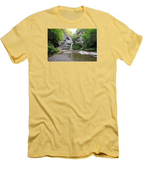 Men's T-Shirt (Slim Fit) featuring the photograph Beautiful Eagle Cliff Falls  by Trina  Ansel