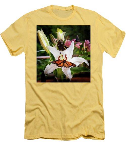 Men's T-Shirt (Slim Fit) featuring the photograph He Still Gives Me Butterflies by Karen Wiles