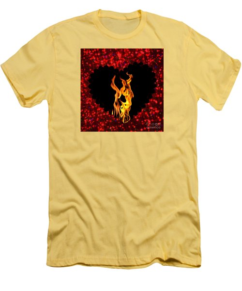 Men's T-Shirt (Slim Fit) featuring the digital art Heart On Fire  by Mindy Bench