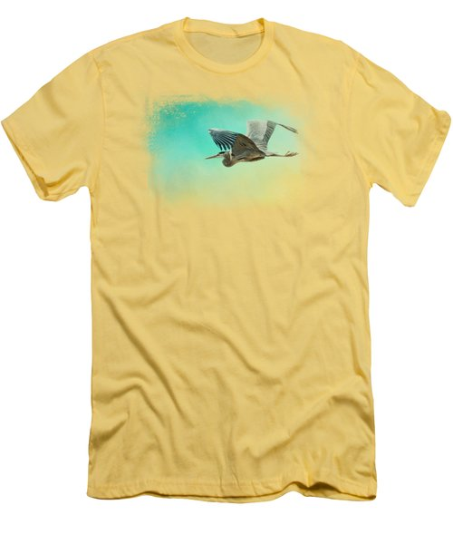 Heron At Sea Men's T-Shirt (Slim Fit) by Jai Johnson
