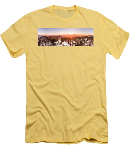 Men's T-Shirt (Slim Fit) featuring the photograph Heublein Tower In Simsbury Connecticut, Winter Sunrise Panorama by Petr Hejl