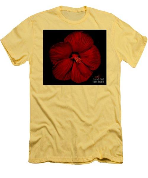 Hibiscus By Moonlight Men's T-Shirt (Slim Fit) by Marsha Heiken