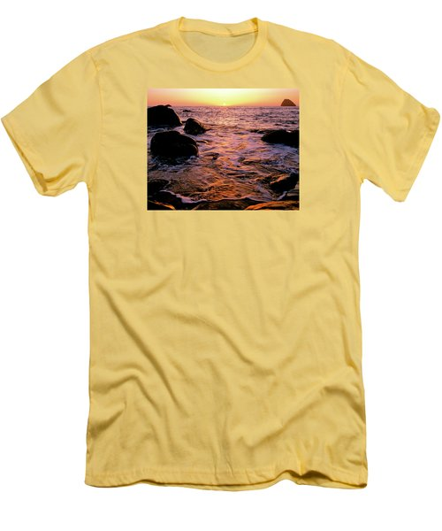 Hidden Cove Sunset Redwood National Park Men's T-Shirt (Slim Fit) by Ed  Riche