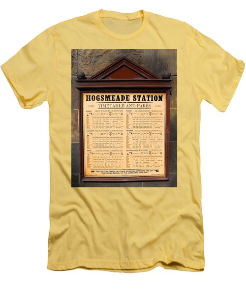 Men's T-Shirt (Slim Fit) featuring the photograph Hogsmeade Station Timetable by Juergen Weiss