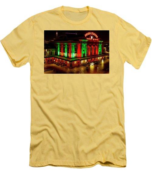 Holiday Lights At Union Station Denver Men's T-Shirt (Slim Fit) by Teri Virbickis