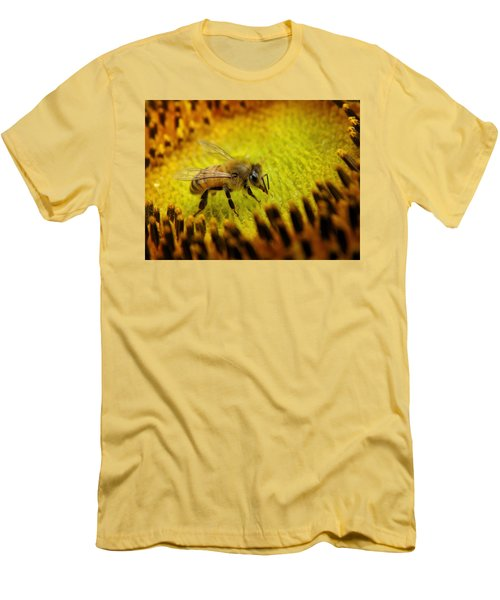 Men's T-Shirt (Slim Fit) featuring the photograph Honeybee On Sunflower by Chris Berry